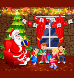 Santa claus with christmas tree and cute kid vector
