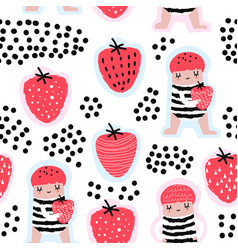 seamless pattern with cute girls and strawberries vector image