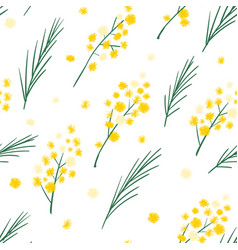 seamless pattern with mimosa flowers and leaves vector image