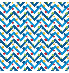 Seamless Pattern with Stars and Zigzag vector