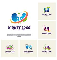 Set kidney logo design concept urology logo vector