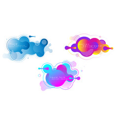 set liquid vivid color abstract geometric vector image