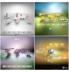 set world maps in perspective blurred vector image