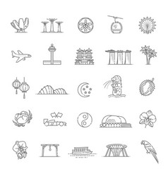 singapore icon set thin line icon vector image