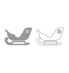 sleigh santa claus icon grey set vector image