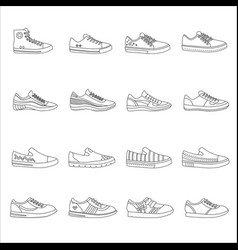 Sneakers shoes outline line stroke icons set vector