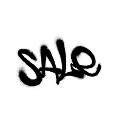 sprayed sale font graffiti with overspray in black vector image