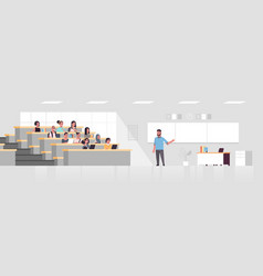 Students sitting at college lecture hall vector