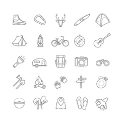 summer camping icons set vector image
