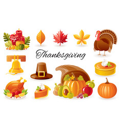 thanksgiving icon set turkey pumpkin pie vector image