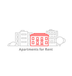 thin line apartments for rent vector image