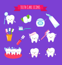 Tooth brushing and dental care cute cartoon icons vector