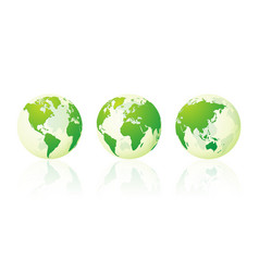 Transparent world globe maps planet earth green vector