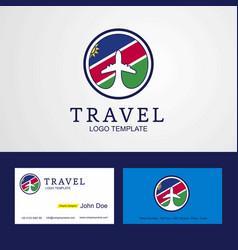 travel namibia creative circle flag logo and vector image