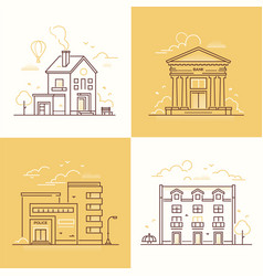 urban architecture - set of thin line design style vector image