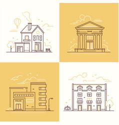 urban architecture - set thin line design style vector image