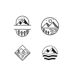 vintage landscape with mountain peaks end graphic vector image