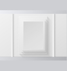 white photo frame on white wall vector image