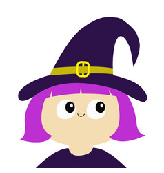 witch girl wearing curl hat cartoon funny spooky vector image