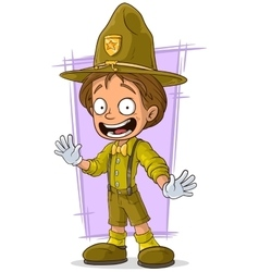 Cartoon smiling young boy-scout vector image