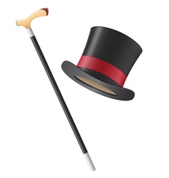 cylinder hat and walking stick vector image vector image