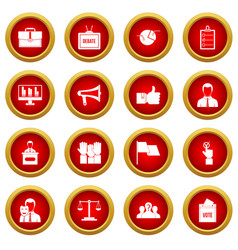 Election voting icon red circle set vector