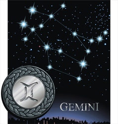 Gemini zodiac sign twins zodiac poster vector