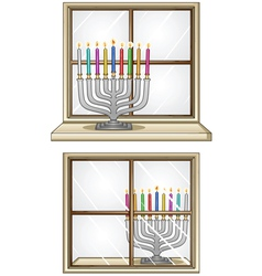Hanukkiah On A Window vector image