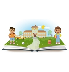 Opened book with school and two children vector image