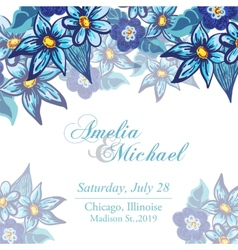 Wedding invitation card with blue flowers vector image
