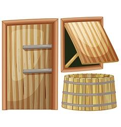 Wooden door and window vector image