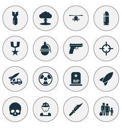 army icons set collection of ordnance slug vector image vector image