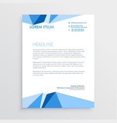 blue geometric letterhead template design vector image vector image
