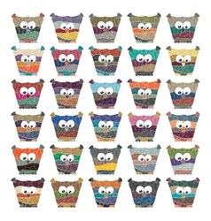 Colorful owls set on white background vector image