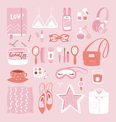 fashion girl clothing and accessories vector image vector image