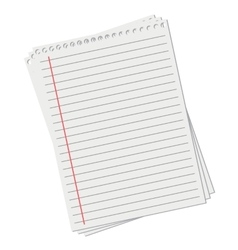 leaf from a notebook on white background vector image vector image