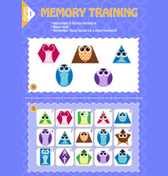 Memory game children geometry shapes vector