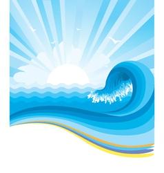 Blue wave in ocean horizon vector image