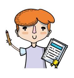 boy with notebook and hairstyle design vector image