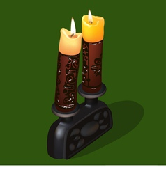 burning old ornamental candles vector image