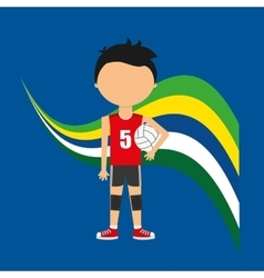 cartoon voleyball player brazilian label vector image vector image