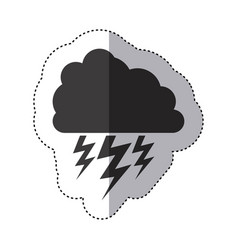 gray silhouette sticker of cloud with lightnings vector image