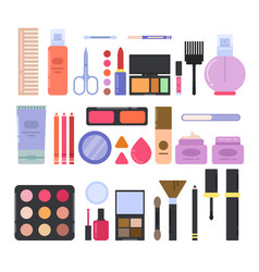 different makeup accessories for girls and women vector image vector image
