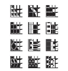 Different types of facades of buildings vector image vector image