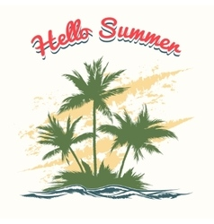 Handmade summer with palm trees vector image vector image