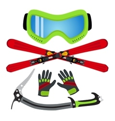 Ice sports set flat style - goggles ski gloves vector image vector image