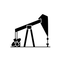oil rig silhouette icon in flat style vector image vector image