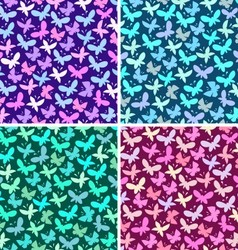 Seamless pattern set with butterflies vector image