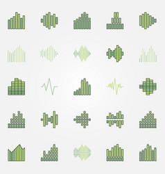soundwave colorful icons set vector image