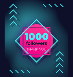 1000 followers thank you banner vector image